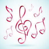 Vector illustration of musical note ribbons