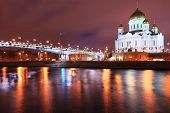Night view to the Cathedral of Christ the Saviour in Moscow, Russia