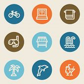 Vacation web icons, color circle buttons