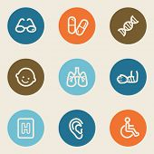 Medicine web icon set 2 , color circle buttons