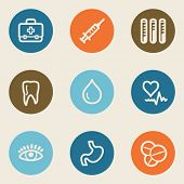 Medicine web icon set 1 , color circle buttons