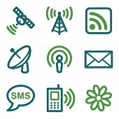 Communication web icons, green line set