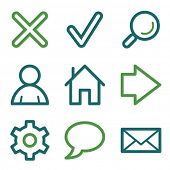 Basic web icons, green line set