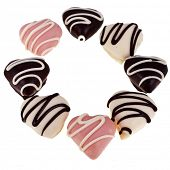 Frame Valentine's day of Sweet Colorful  Marzipan heart candy isolated on white background