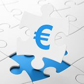 Currency concept: Euro on puzzle background
