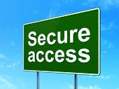Security concept: Secure Access on road sign background