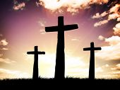 stock photo of golgotha  - Three crosses on a hill - JPG