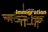 Immigration Word Cloud on Black Background
