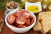 Chorizo With Olives, Bread And Oil
