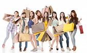 stock photo of japan girl  - Happy Asian shopping girls on white background - JPG