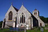 Ancient Flint Church, Deep Blue Sky