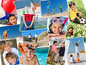 Montage of interracial group of happy children, girls and boys playing having fun in swimming pool,
