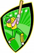 stock photo of cricket bat  - Illustration of an Australia cricket player batsman with bat batting done in cartoon style on isolated background - JPG