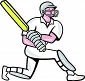 picture of cricket bat  - Illustration of a cricket player batsman with bat batting kneel done in cartoon style on isolated background - JPG