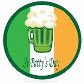 St Patty's Day Button with Green Beer