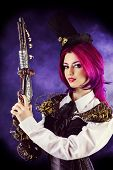 Girl in a stylized steampunk costume holding a gun. Anime.