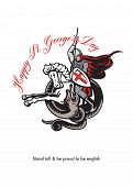 Stand Tall Proud English Happy St George Stand Retro Poster