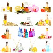Collage of  luxury perfumes