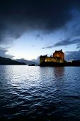 Sunset colours over Eilean Donan Castle, Scotland, Europe