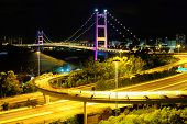 image of hong kong bridge  - Hong Kong bridge at night - JPG