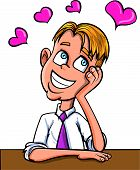 Cartoon office worker dreaming of love. Isolated