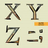 art sketched set of vector character classic colorful fonts, uppercase symbols, signs X, Y, Z, period, comma, dash