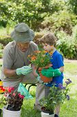 View of a grandfather and grandson engaged in gardening