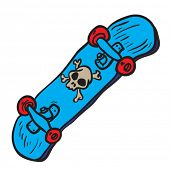 blue skateboard with skull cartoon doodle