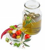 Olive Oil And Kebabs With Mozzarella Olives And Cherry Tomatoes