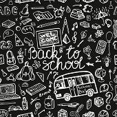 Back to School Supplies Sketchy chalkboard.Seamless pattern
