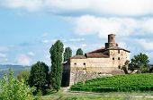 Old Castle Of La Volta, Barolo In Italy In Langhe Wineyard.