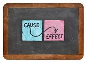 cause and effect concept - colorful sticky notes on a vintage slate blackboard  isolated on white