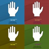 Color set Stop. hand. Flat modern web button with long shadow and space for your text.