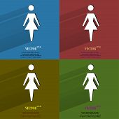 Color set woman restroom. Flat modern web button with long shadow and space for your text