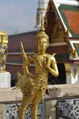 Gold Sculpture Man Bird Bastard Thailand