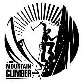 Mountain climber. Vector illustration in the engraving style