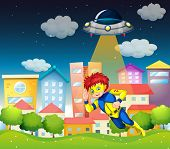 Illustration of a superhero and a saucer near the buildings