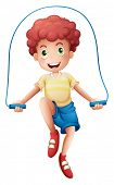 Illustration of a boy playing with the rope on a white background