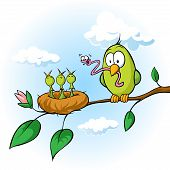 Spring Illustration Of Bird Feeding Hungry Chicks