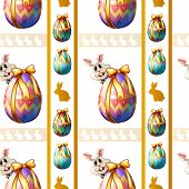 Illustration of a seamless template with eggs and bunnies on a white background