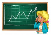 Illustration of a woman using her cellphone in front of the chalkboard on a white background