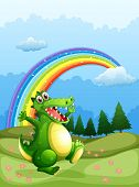 Illustration of a crocodile walking and a rainbow in the sky