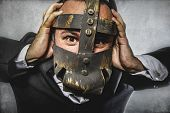 manager, dangerous business man with iron mask and expressions