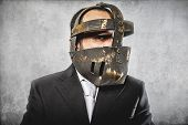 job, dangerous business man with iron mask and expressions