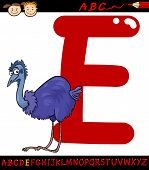 Letter E For Emu Cartoon Illustration