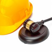 Wooden Judge Gavel With Protective Helmet - Studio Shoot
