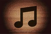 Music note. Flat modern web button and space for your text.