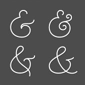 Four elegant and stylish custom ampersands for wedding invitation or business card. Vector illustration