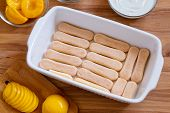Homemade Biscotti Dessert With Canned Peaches And Mascarpone