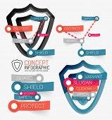 Vector shield protection concept and tag cloud infographic elements